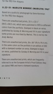 Recognition in Andy Warhol Print Raisonne' Book.